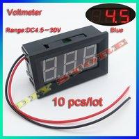 10pcs/lot Mini DC2.5-30V  Red Digital Voltmeter Volt Panel Meter +free shipping-10000302