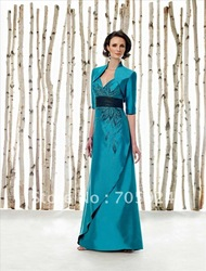 mother of bride groom 2 piece with jacket embriodery waistband prom dress evening gown celebrity dress A line fashion dress(China (Mainland))