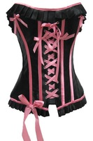 Free shipping + Lowest price!!NEW SEXY Front Three Bows and Lace CorsetLC5158