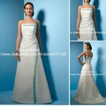 Elegant A Line Off the Shoulder Strapless Embroidery Satin Sweep Train YW051 Vintage Wedding Dresses In China