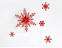 DIY Stereo Digital Clock Christmas clock snowflake Wall clock Retail or Wholesale Free Shipping / hot sales
