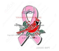 Free Shipping Newest High Quality Breast Cancer Awareness Christmas Cardinal Bird Pink Ribbon Lapel Pins