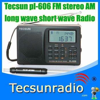 Retail-Wholesale Tecsun pl-606 FM stereo AM long wave short wave Radio pl606 am/FM radio portable radio