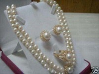New hot collectable Beautiful white pearl necklace ring earring Set free shipping