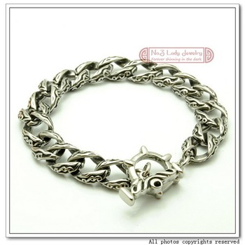 "2012 New Arrivals, Free Shipping, 8.8""  316l Stainless Steel Vintage Bracelet Chain, OT clasp, Antique Finished, Wholesale,WB080"