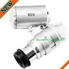 Mini 60X Jóias transporte Lupa Lupa LED iluminado microscópio grátis(China (Mainland))