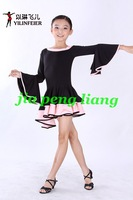 Wholesale Girl's Dance Clothing Girl's Latin Dancerwear Children's Dresses Stage Wear S,M,L,XL 10pcs/lot Free Shipping
