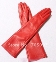 50cm genuine leather red gloves hot sale show party gloves women's gift
