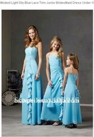 Simple Strapless Sleeveless Knee-length Empire Sashes Ruffle A-line Adult Bridesmaid Dresses Gown Chiffon HL-58