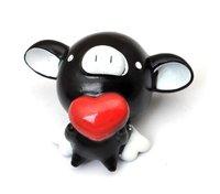 Free shipping  Hot Sale!!!Wholesale Fashion Plastic Cute PVC Sucker Black Pig Doll Mobile Phone Sticker