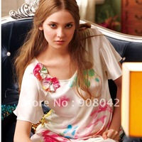 High quality! 2011 New style, 1 set for 2 PCS, real/pure silk embroidered and printed women and lady's nightwear