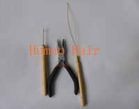 plier and needle tool for micro rings/links/beads hair extension application