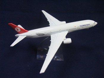 Free Shipping!!16CM METAL SCALE PLANE MODEL B777 TURKEY AIRLINES,passenger plane model,Christmas gift