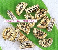 Gold Plated Crystal Vaulted Spacer Bar 2 Holes, Rhinestone Spacers, 12 x7 x4MM, Jewelry Findings. M115