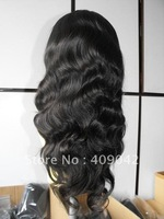 Free shipping! In stock fashion 100% Malaysian virgin hair 18inch ,best quality full lace wig