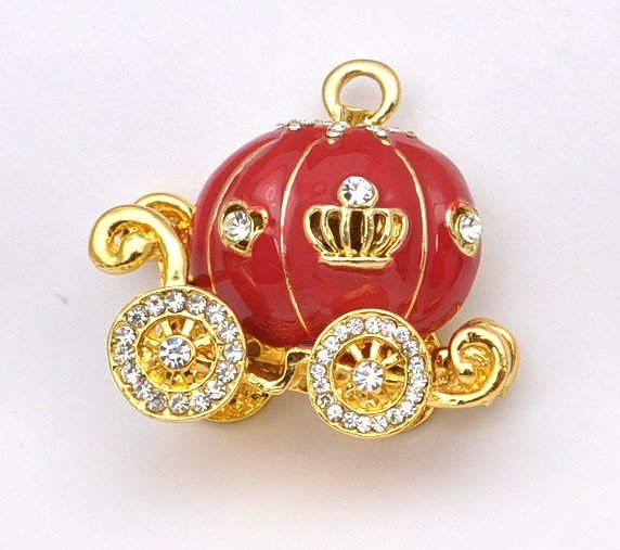 2012 Hot Sale!!! Wholesale 10g Fashion Shine Alloy & Rinestone Elgant Red Pumpkin Cart With Gold Window Mobile Phone Sticker(China (Mainland))