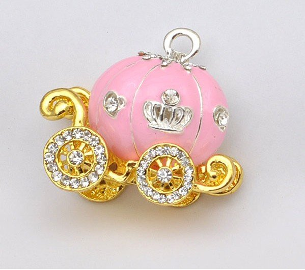 2012 Hot Sale!!! Wholesale 15g Fashion Shine Alloy & Rinestone Elgant Pink Pumpkin Cart With Silver Window Mobile Phone Sticker(China (Mainland))