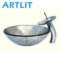 ARTLIT New Design Round Tempered Glass Sink Washbowl with Brass Waterfall Faucet Set (212-2002)