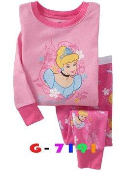 P86, Princess, 100% Cotton Rib long sleeve T shirt + pant, Baby/Children pajamas/sleepwear/clothing sets for 2-7 year.