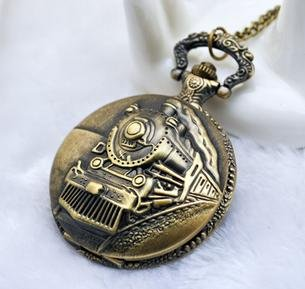 Free Shipping Charming fashion jewelry new coming train carved pocket watch and(China (Mainland))