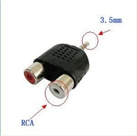 3.5mm to 2 RCA Female Audio Converter Connector Plug Adapter NEW freeshipping very good qulity