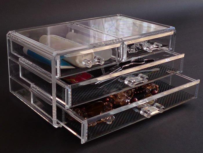New Acrylic 4-Drawer Jewelry Cosmetic Organizer Chest Storage Cube Gift/Present(China (Mainland))