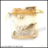 Free Shipping Pouch Organza with Golden Leaf Gift Bags Fit Wedding&Festival Decoration 150pcs/lot  7x9cm 120401