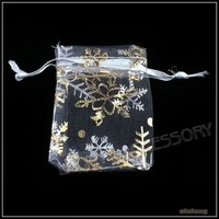 Hot Selling Pouch Organza with Golden Snowflakes Gift Bags Fit Wedding&Festival Decoration 150pcs/lot  5x7cm 120403