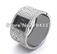 Free ship fee luxury Carve 214 PCS shine Zircon jewelry Massive stainless steel bangle women Wrist Watch SZB7