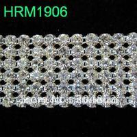 Free shipping 10yards/lot, 6 rows crystal rhinestone mesh trim SS19 Crystals for wedding dress & cakes