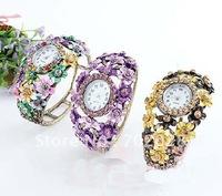 Stylish Colors Flower Rhinestone Open Bracelet + Watch 12pcs free shipping