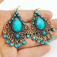 Vintage flower earrings alloy ear drop Free shipping MOQ 10USD mixed orders