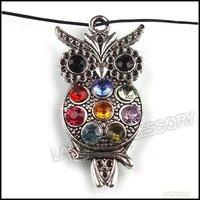 30pcs/lot Free Shipping Alloy Owl Inlay Rhinestone Pendant Vintage Bronze Tone Charms Pendant 48*24*6mm Jewelry Wholesale 141985