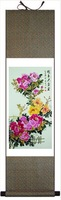 Hot Sale 100% High Quality 100*30 Silk Chinese Peony Painting FN-40 used as Home Decoration,New Arrivals,Free shipping