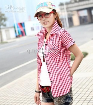 New Asian College Style Lady's Shirts Women's Shirts woman's short sleeve shirt with grid design
