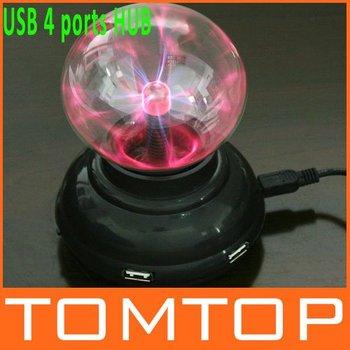 USB 4 ports HUB Plasma Ball Sphere Light Lamp Desktop Light Show,Free Shipping+Drop Shipping Wholesale