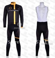 2011 Livestrongs Team thermal Fleece long sleeve cycling jerseys and bib pants/cycling wear/cycling clothing,size:s-xxxl