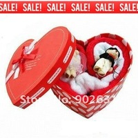 Free Shipping/Accept Credit Card W/ 2 Couple Wedding Bears~For Promotion 30pcs New Red Heart Shape gift towel marriage gift