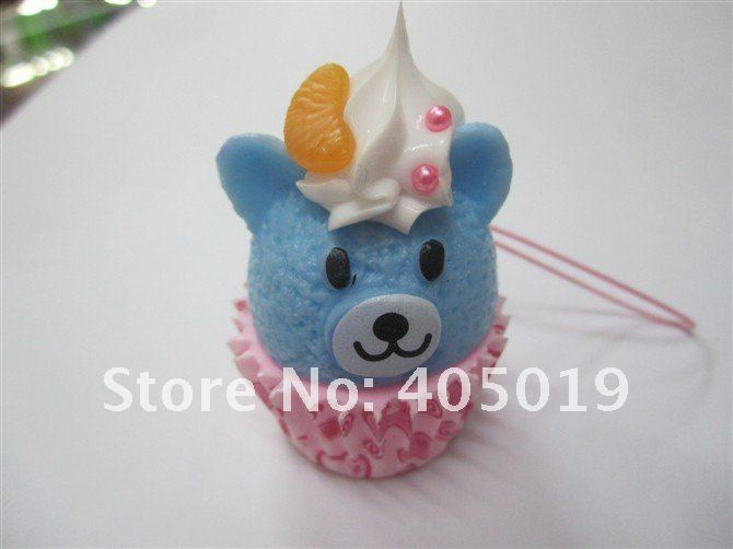 Squishy Pooh Bear Cream Phone Charm Simulation Cake Keychain Bag Pendant w/Lanyard Super Kawaii Must Have 4 Ladies Free Shipping