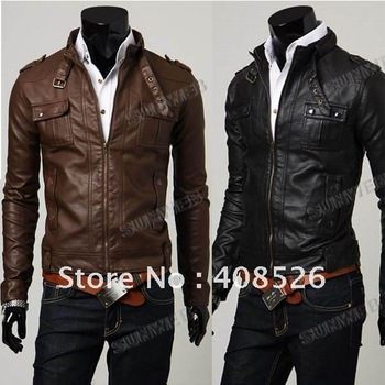 2013 fashion Classic Men's PU Leather Coat  jacket 2 Colors 4 Sizes Black,Brown M,LXL, XXLfree shipping  3521