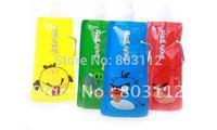 Freeshipping 100% guaranteed HOT Promotion Cartoon Design Folding water bag 480ml colorful Reusable water bottle