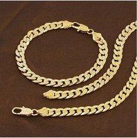 promtion!!! fashion jewrlry men 7mm 18k yellow gold filled necklace bracelet jewelry set ,gold necklace,gold bracelet set