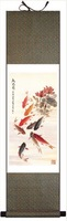 So Beautiful 100% High Quality 140*45 Traditional Chinese Silk Painting of Fishes Painting FN-9,New Arrivals,Free shipping