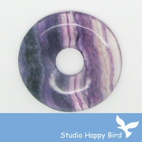 Free Shipping Fashion Stone Pendant - 30mm Fluorite Donut