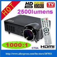 Freeshipping!!! Multimedia entertainment home theater led+lcd projector 1024*768 with strong HDMI TV VGA 1080p HD prosjektor