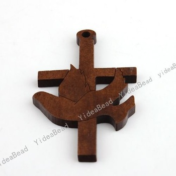 90pcs New Wooden Charms Pendants Beads Cross Pandent Fit Chains Necklace Christmas Decoration Jewerly Findings 140735