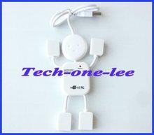 PC Mini 4 Port USB Hub Man adaptor 2 0 480Mbps High Speed Cable free shipping