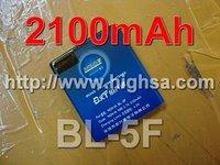 2100mAh BL-5F / BL 5F High Capacity Battery Use for Nokia 6290/E65/N93i/6210/N96/6210S/6710N/N95 etc Mobile Phones