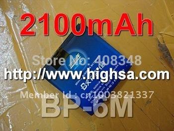 2100mAh BP-6M / BP 6M High Capacity Battery Use for Nokia 6151/6233/6234/6280/6288/9300/9300i/N73/N77/N93/N93S etc Phones