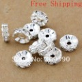 Free shipping HOT DIY 8/10mm White ( B Rhinestone ) Crystal spacer Beads Jewelry Findings Shape wave Silver plated 1000pcs/lot